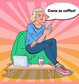 pop art woman with coffee and smartphone in a cafe vector image