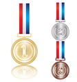 set of the gold silver and bronze medals vector image
