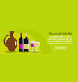 alcohol drinks banner horizontal concept vector image