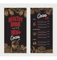 Cocoa Engraved Restaurant Menu Template vector image