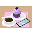 Cup of coffee and cupcake Phone vector image