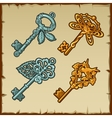 Set of vintage keys with floral and bird ornament vector image