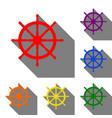 ship wheel sign set of red orange yellow green vector image