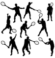Tennis silhouette set eps10 vector image