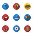Sawmil and timber set icons in flat style Big vector image