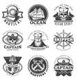 vintage sailor naval label set vector image