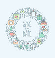 wedding icons in circle save the date concept vector image
