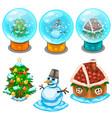glass balls christmas tree snowman and house vector image