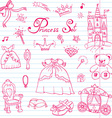 Hand drawn set of princess sign Castle throne and vector image