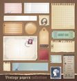 Vintage papers collection vector image