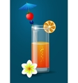 Fresh orange juice with plumeria flowers vector image