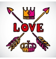 Doodle love sign with arrows and crowns vector image