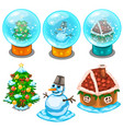 glass balls christmas tree snowman and house vector image