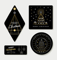 Gold line art and tag template set for christmas vector image