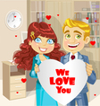 man and woman in office holding banner heart vector image