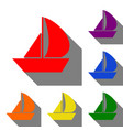 sail boat sign set of red orange yellow green vector image