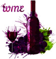 Wine bottle glass and grapes made of grange splash vector image