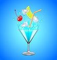 Ice cubes and fruits falling into blue lagoon vector image
