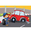 A boy near the car accident at the road vector image vector image