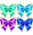 Silk bows in cool colors with golden edging vector image vector image