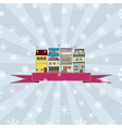 Winter holidays card with houses 2 vector image