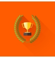 with laurel wreath and champions cup in flat vector image
