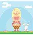 Happy girl bunny basket easter egg icon sky vector image