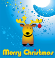 Christmas card with funny deer and moon vector image