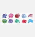 collection of stains hand painted with watercolor vector image