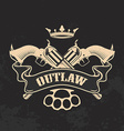 Outlaw Two revolvers on grunge background vector image