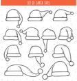 Set of 12 monochrome doodle hats Santa Claus vector image