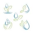 Water drop and leaf symbol set vector image vector image