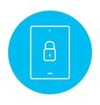 Digital tablet security line icon vector image