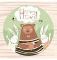Cute bear and bunny friends vector image