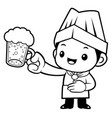 black and white head cook mascot is holding a vector image