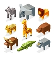 Cartoon 3D isometric african animals vector image