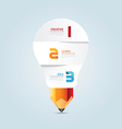 Infographic pencil with light bulb paper shape vector image