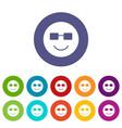 smiling emoticon set icons vector image