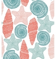 background with shells and starfish vector image