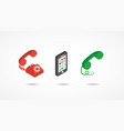 telephone isometric icons 3d colorful vector image vector image