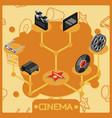 Cinema isometric concept icons vector image