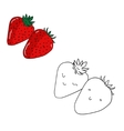 Educational game coloring book strawberry fruit vector image