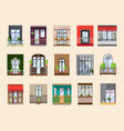 balconies set collection with building facade vector image