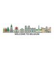 belgium outline skyline belgian flat thin line vector image