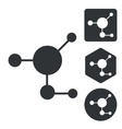 Molecule icon set monochrome vector image