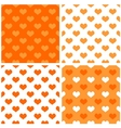 Seamless orange white background set with hearts vector image