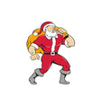 Super Santa Claus Carrying Sack Isolated Cartoon vector image