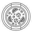 pizza with sausage tomatoes and olives icon vector image