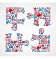 USA elections icons puzzle piece vector image vector image