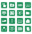 Criminal activity icons set grunge vector image